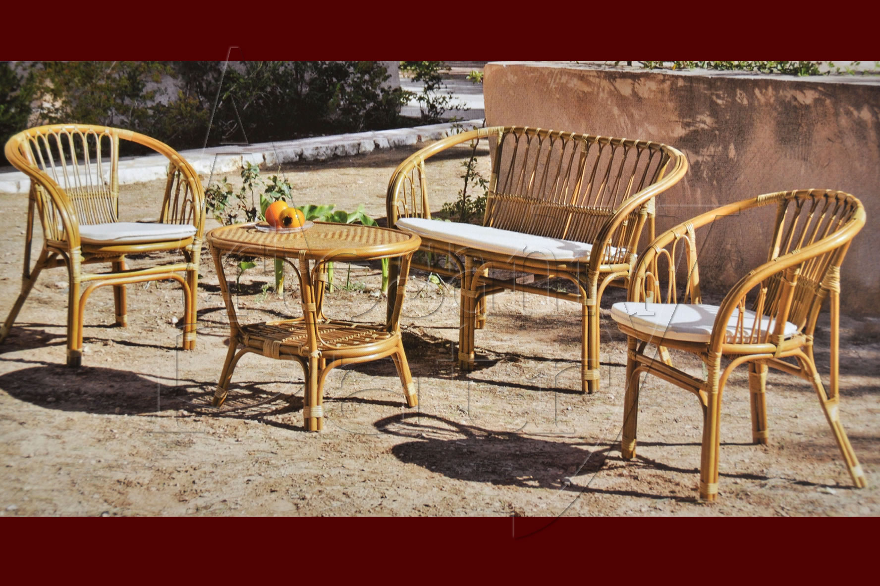 Muebles de exterior madera mimbre junco for Muebles de mimbre para jardin